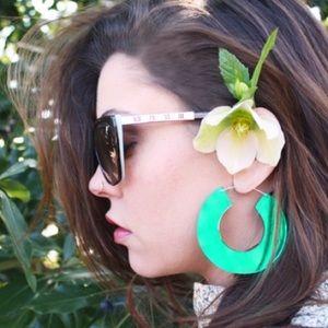 Jewelry - NWT Teal Acrylic Mirrored Hoop Statement Earrings